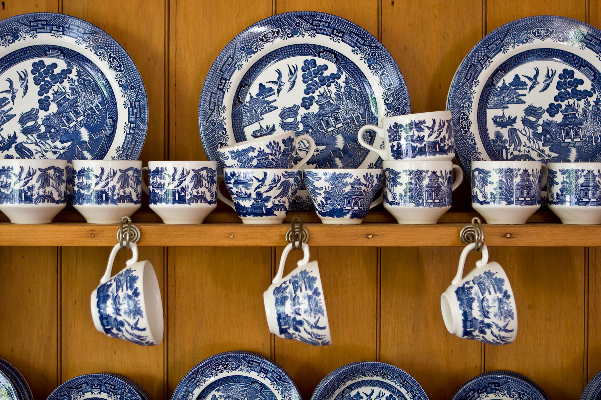 Blue China on a shelf